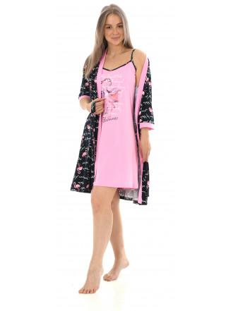 Комплект двойка Фламинго-2(пеньюар, сорочка) №1066