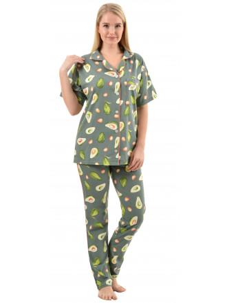 Пижама кулирка Авокадо брюки олива № 1055-1