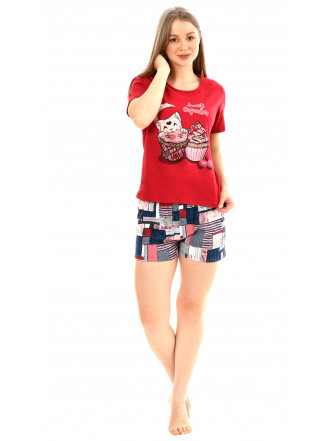 Пижама кулирка  Капкейки  бордо (футболка, шорты) № 0045-2