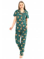 Пижама кулирка Лисы зел.  брюки   № 1055-9