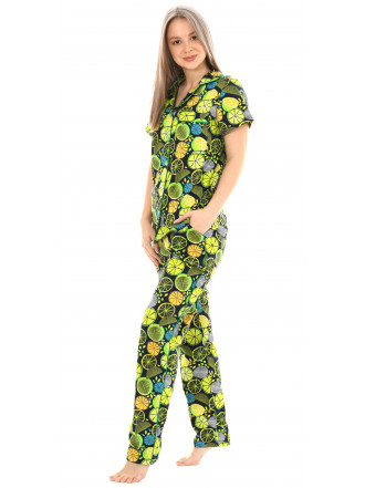 Пижама кулирка Лимон ментол брюки   № 1055-13
