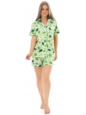Пижама кулирка  шорты Киви салат  № 1075-16