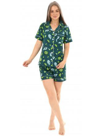 Пижама кулирка  шорты Киви изумруд  № 1075-18