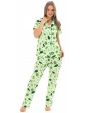 Пижама кулирка Киви салат брюки   № 1055-16