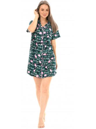 Халат кулирка на пуговицах Фламинго зеленый № 8438-3