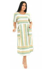 Платье кулирка полоса салат № 4080