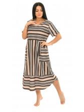 Платье кулирка полоса коричн  № 4080-2