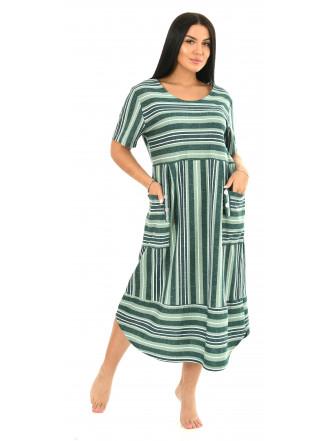 Платье кулирка полоса зелен  № 4080-3