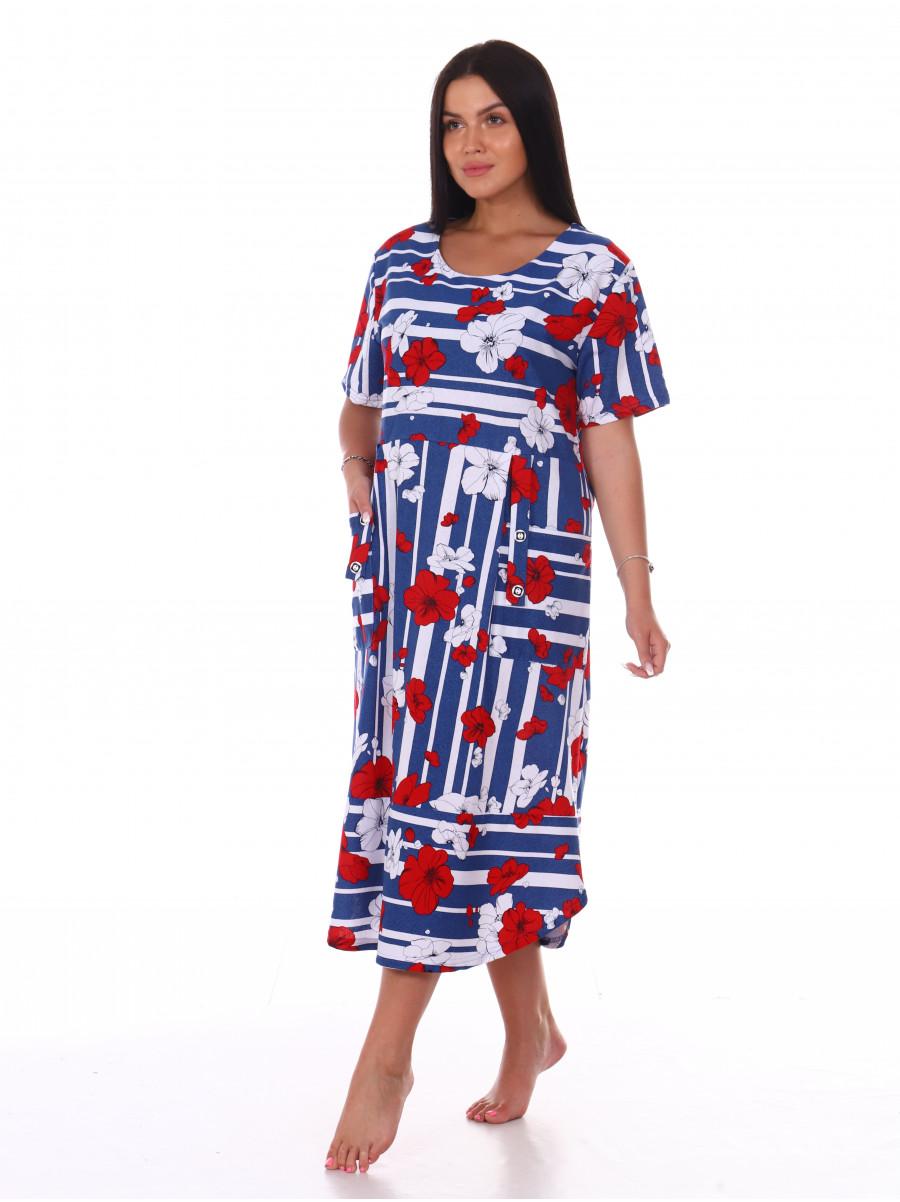 Платье кулирка цветы № 4080-5