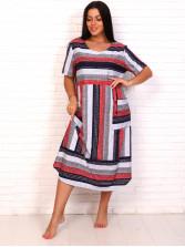 Платье кулирка полоса красн № 4080-7