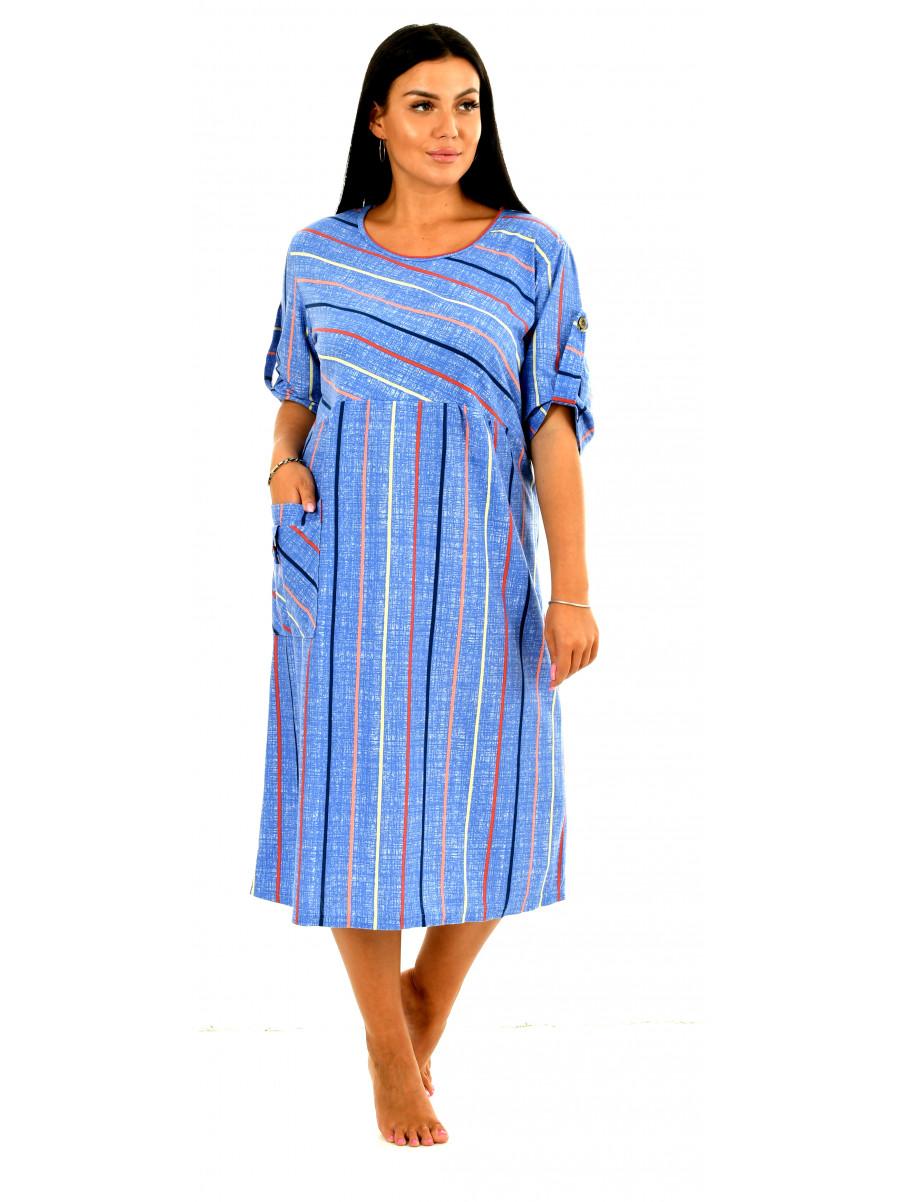 Платье кулирка  полоса Валенсия № 4070-3